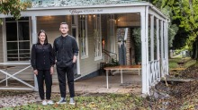 Liam Thornycroft (pictured with Beppe's co-owner Samantha Mackley) has to decide if it's worth reopening his Daylesford ...