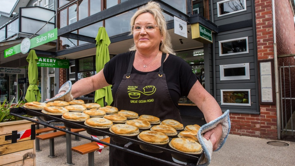 Sally Cannon of Apollo Bay Bakery with the first Victorian scallop pies.