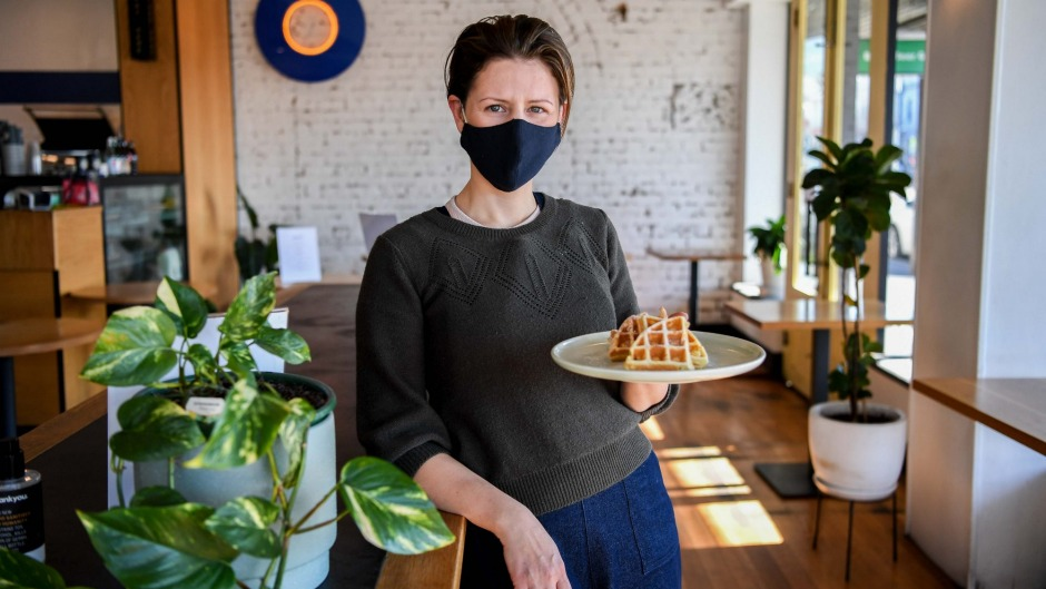 Elisa Mariani from Mayday Cafe in Richmond is giving away free waffles  for stood-down workers.