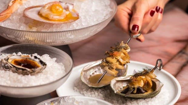 Abalone and mushroom with scallop and oyster dishes.
