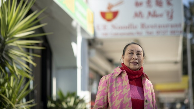 Angie Hong outside UE Noodle restaurant in Cabramatta.