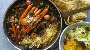 Serve this lamb tagine with cous cous and a seasonal fennel and orange salad.