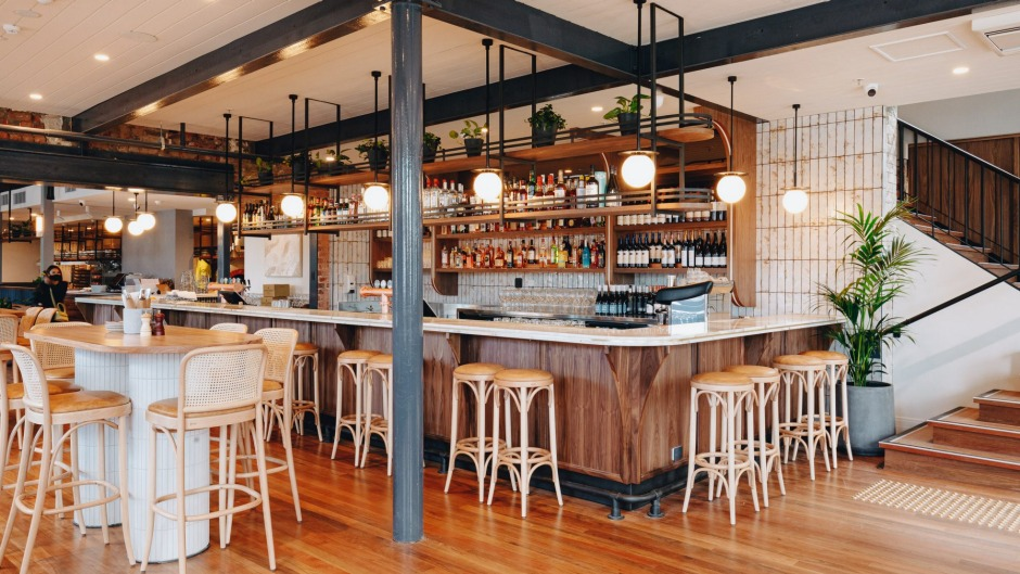 The public bar at Sarah Sands Hotel - the perfect place to prop with a pint and a parma.