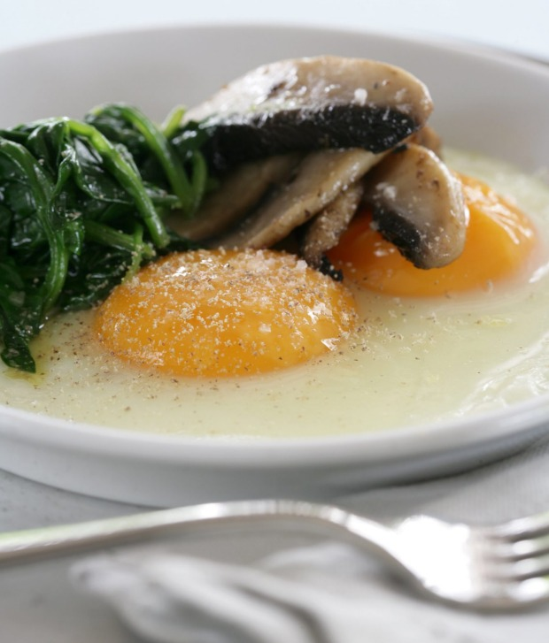 Eggs baked on a plate.