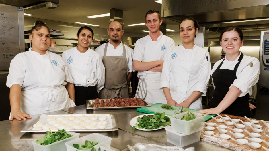 Young First Nations cooking at NSW Parliament House in June. From left. Yolanda Buchana, Bindaray Greenup, Keith Monroe, ...
