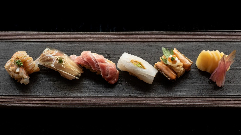 The sushi selection from the omakase menu at Sokyo, which is booked out until 2022.