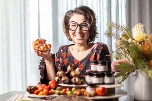 Cookbook author Alice Zaslavsky with her new Tumami spread made with organic tomatoes and black garlic.