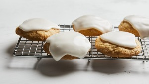 Lemon drop biscuits with thick lemon icing.