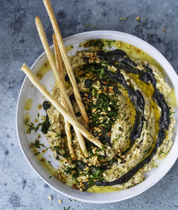Karen Martini gives the eggplant dip a dramatic makeover.