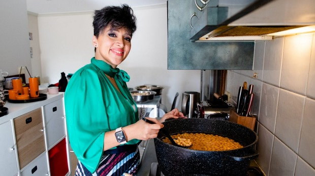 Syrian chef Racha Abou Alchamat prepares dishes for a pop-up event to mark Refugee Week.