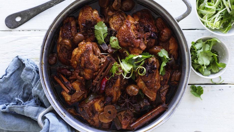 Red braised chicken with dried chestnuts.