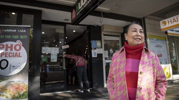 GOOD FOOD: Angie Hong outside Huong Xua restaurant in Cabramatta. 2nd June 2021, Photo: Wolter Peeters, The Sydney Morning Herald.