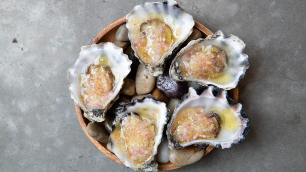 Shoalhaven Heads oysters with fingerlime mignonette.