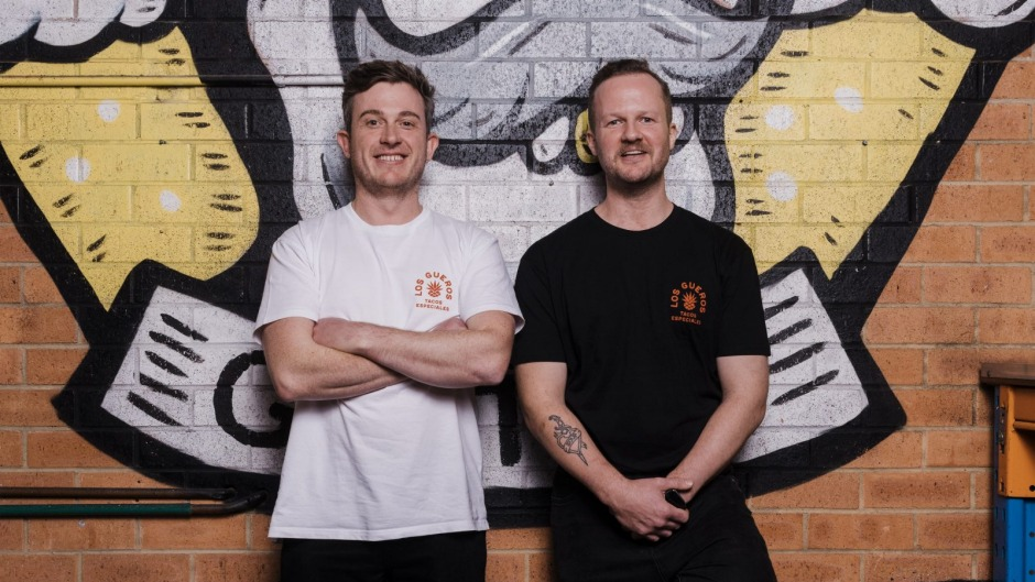Pop-up partners: Chefs Alex White (left) and Dave McKinn from Los Gueros at Young Henry's in Newtown.