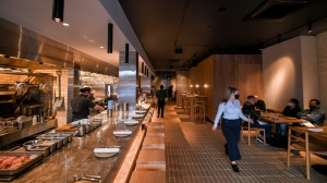 Aru's interior is in elemental tones of rock and timber.