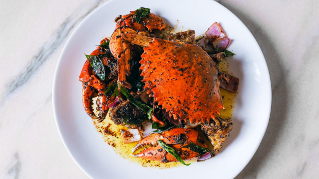 Mud crab with black pepper curry from Amah by Ho Jiak, available on the Chatswood restaurant's takeaway menu for lockdown.