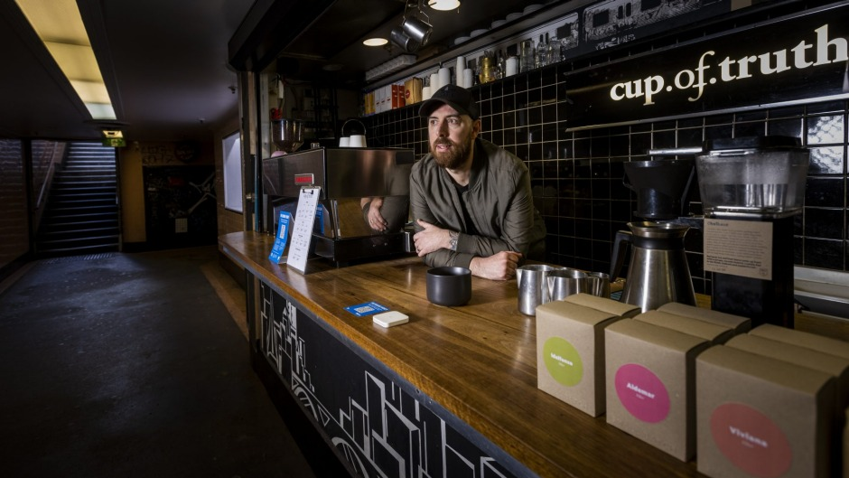 Jono Freeman, co-owner of Cup of Truth in the Campbell Arcade underpass.