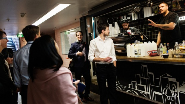 Baristas Jon Freeman (left) and Courtney Patterson serving early morning coffee and wisdom at Cup Of Truth in 2015.