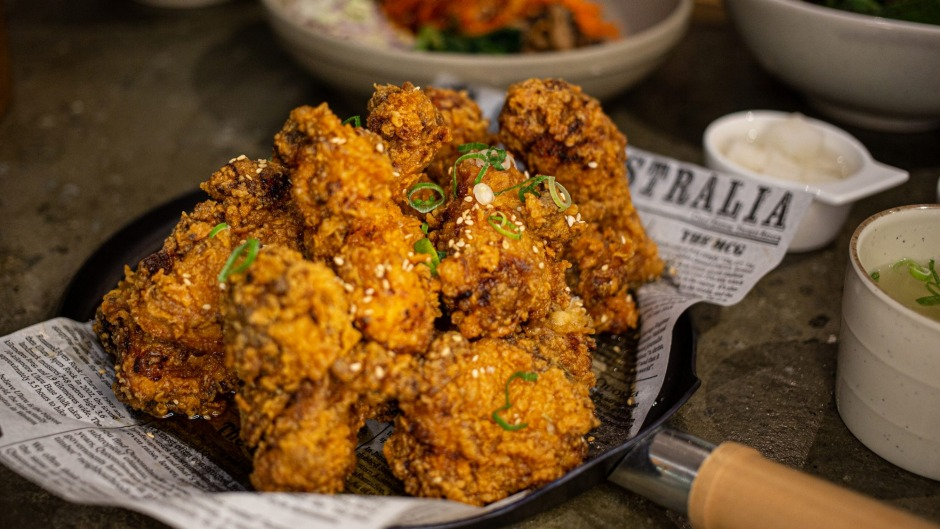 A Korean favourite fries out the door: Flying Chook's soy garlic fried chicken.
