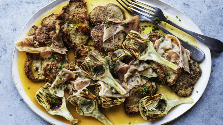 Three of Neil Perry's favourite things on a plate: artichokes, veal and prosciutto.