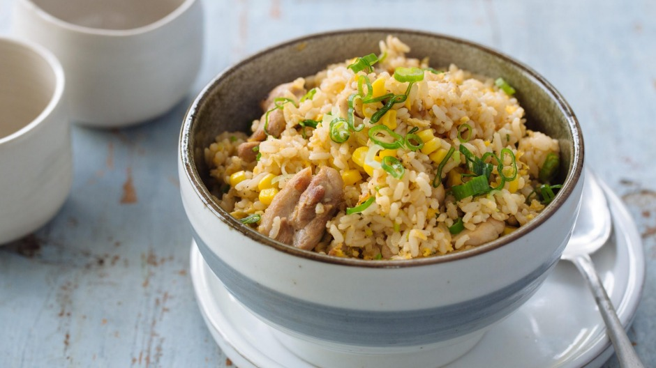 Transform day-old steamed rice into my corn and chicken fried rice.