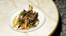 Heirloom carrots with smoked honey and coconut yoghurt.