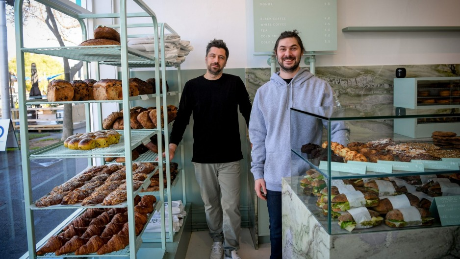 Bread Club in owners Tim Beylie (left) and Brice Antier at their new bakery in Albert Park.