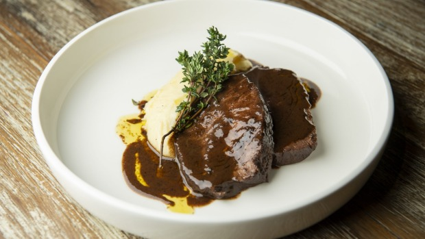 Braised beef shoulder with mashed potatoes.