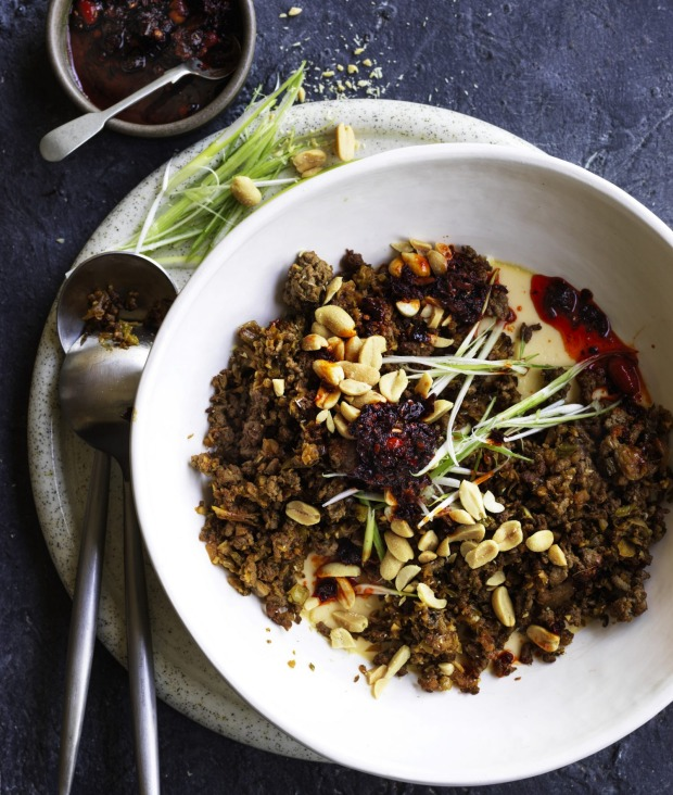 This beef stir-fry is a tasty topping for steamed savoury custard.