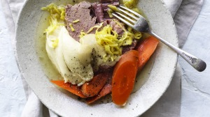 Corned silverside served with boiled carrots, potato puree and creamy mustard sauce.