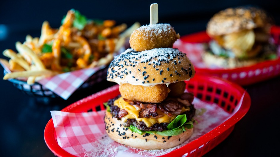 A 'Cheese Louise' special with three mac and cheese balls (centre) at Baby Rey's Burgers in Marrickville.