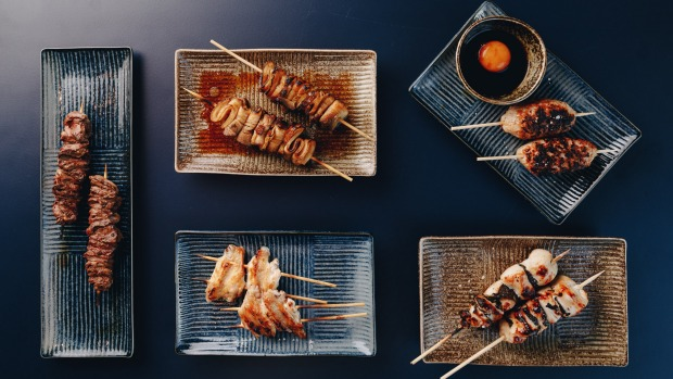 Assorted yakitori and kushikyaki at Robata, which customers can now order to grill over coals at home.