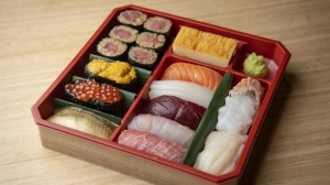 Takeaway luxury: A mixed sushi box from Kuon Omakase in Darling Square.