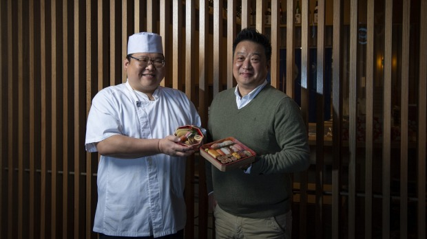 GOOD FOOD: Hideaki Fukada (left) and Kenny Lee. Kuon Omakase, Shop 20/2-58 Little Hay Street, Darling Square. 23rd July 2021, Photo: Wolter Peeters, The Sydney Morning Herald.