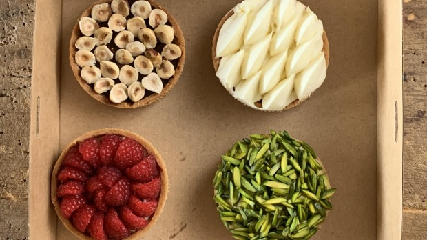 Pastries fromPaneDolce The weekly pastry box of four tarts from Sydney'sPaneDolce. Pic credit Jill Dupleix