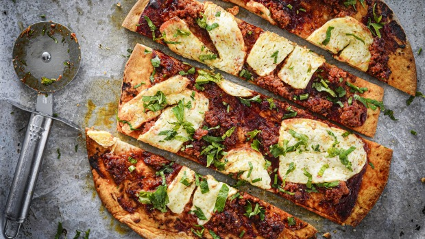 'Nduja and haloumi pizza takes seconds to throw together.
