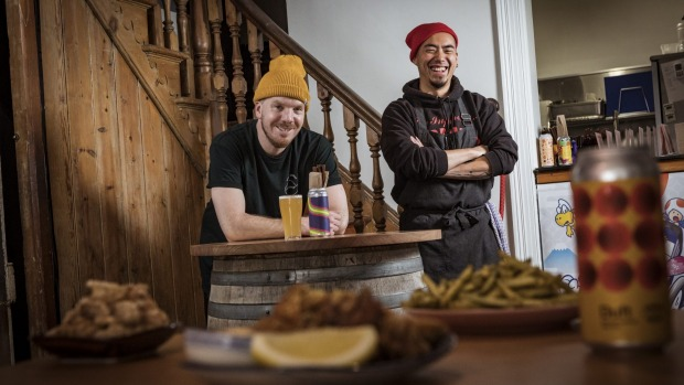 Benchwarmer owner Lachlan Jones, and chef Keng-Hao Chiu provide Japanese chicken and beer from their bar in North Melbourne.