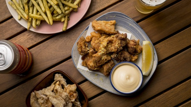 Karaage with side of fried chicken skin at Benchwarmer, North Melbourne.