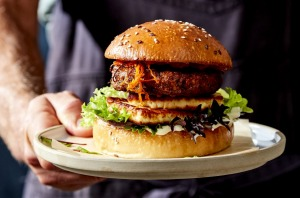 A vegetarian burger made using a legume-based patty from v2Food.