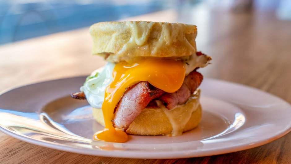 Bacon and egg muffins (pictured), crumpets and salad sandwiches are part of the retro-inspired menu at Tyler's.