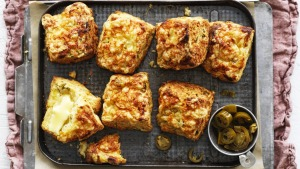 With a little acidity from the yoghurt, a clove of garlic, a handful of cheese and chopped jalapenos, these scones are ...