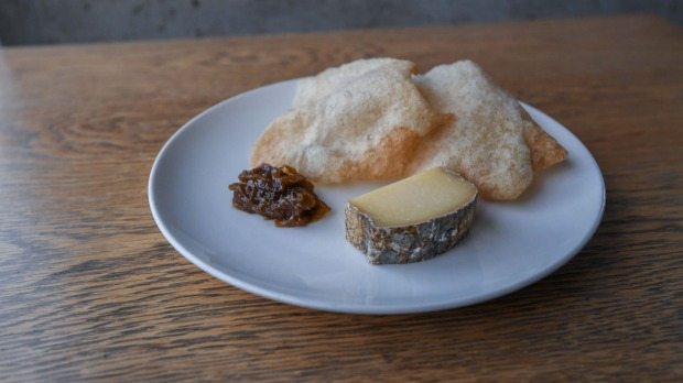 Lucy Whitlow's tomme cheese with onion jam, sourdough crisps.