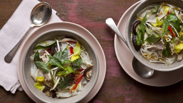 Vietnamese pho with chicken and rice noodles.