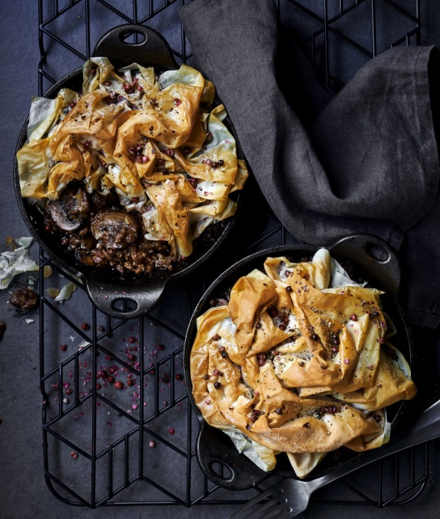 Cheat's meat pies: Beef, caramelised onion and mushroom pot pies.