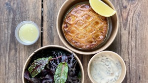 Built-in donation: Boronia Kitchen's fish pie and greens.