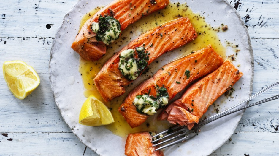 Grilled ocean trout with 'flavour bomb' butter.