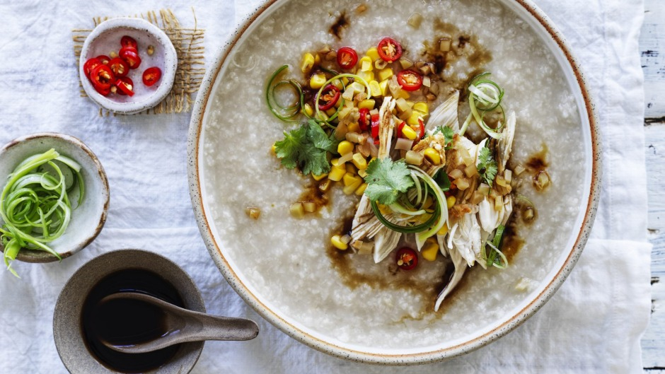 Comforting chicken and corn congee.