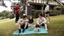 Janna DeVylder and her children Gus, Eli, Alannah and Evelyn having a picnic lunch from Happyfield, Haberfield, in their ...