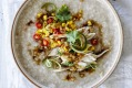 Chicken and corn congee.