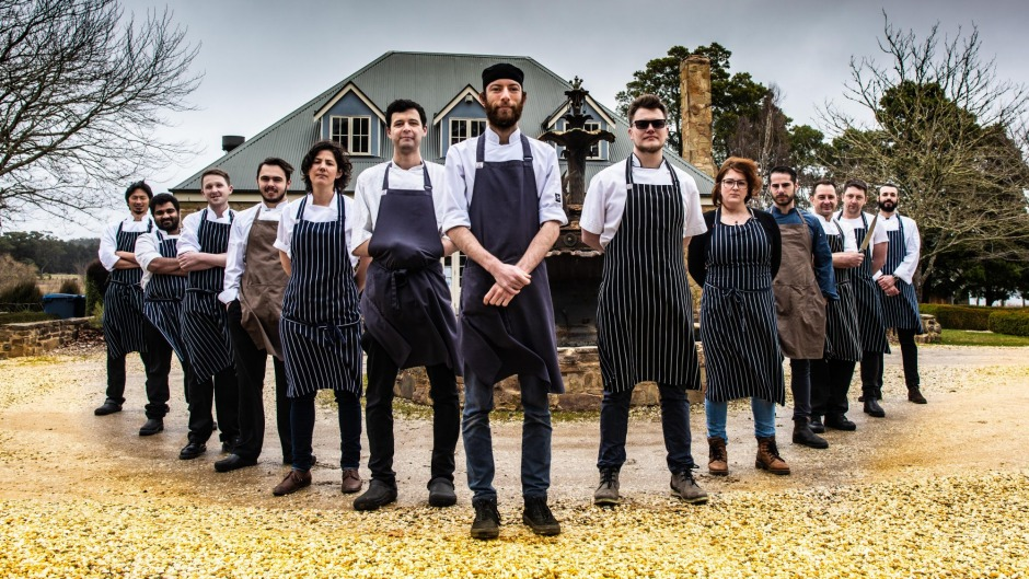 Head chef of Sault Restaurant, Liam Scott (centre), with the chefs forming Daylesford's new Co-Lab Kitchen, created to ...